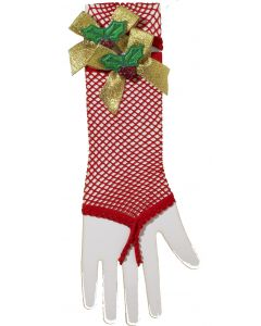 Forum Christmas Fishnet Mistletoe One Finger Gloves, Red Gold, One-Size