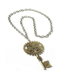 Forum Victorian Geared Key Steampunk Necklace, Copper, One-Size