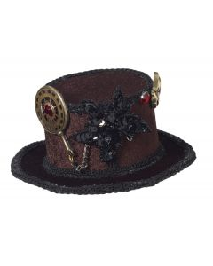 Forum Mini Steampunk Top Hat with Gears Hair Accessory, Black Gold Red, One-Size