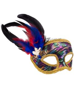 Forum Shiny Abstract Print Masquerade Feather Mask, Rainbow, One-Size