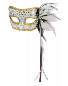 Forum Halloween Cosplay Men's Masquerade Feather Mask, Silver, One-Size