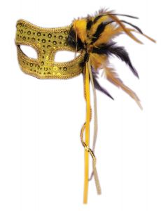 Forum Halloween Cosplay Men's Masquerade Feather Mask, Gold, One-Size