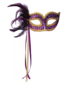 Forum Halloween Cosplay Women's Masquerade Feather Mask, Purple, One-Size