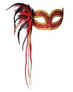 Forum Holiday Cosplay Women's Masquerade Feather Mask, Red, One-Size
