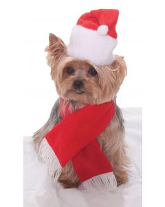Forum Christmas Santa Hat & Scarf Pet Costume, Red White, One-Size
