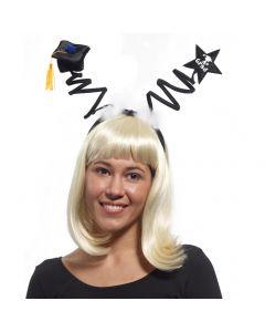 Forum A+ Star Graduation Cap Tassel Headband Boppers, Black White, One-Size