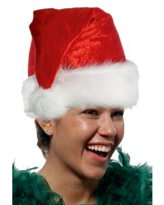 Forum Plush Faux Velvet Holiday Santa Hat w White Faux Fur Trim, Red