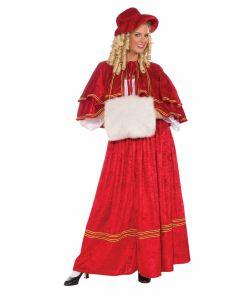 Forum Velvet Christmas Caroler 4pc Adult Costume, Red Gold, One-Size