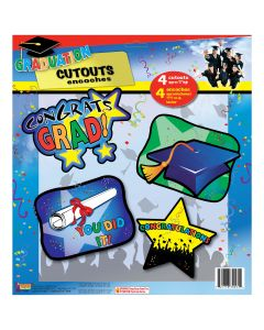 "Congrats Grad Colorful Graduation Wall Decoration Set 4pc 12"" Cutouts"
