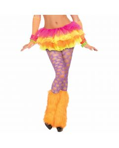 Forum Halloween Cosplay Wide Fishnet Rave Pantyhose, Purple, One-Size