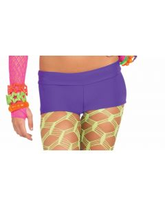 Forum Halloween Cosplay Rave Neon Solid Booty Shorts, Purple, One-Size