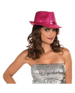 """Forum Funky Sequin Girl Gangster Fedora, Magenta, One-Size 21"""""""