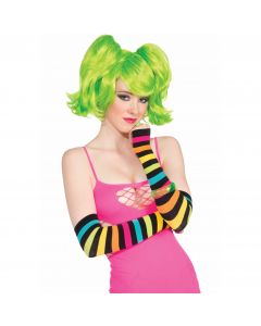 Forum Halloween Cosplay Long Rainbow Striped 2pc Gloves, One-Size