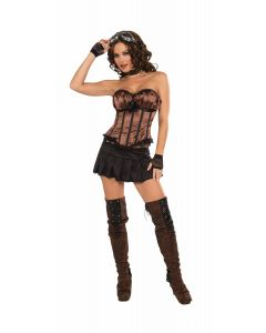 Forum Steampunk Corset Costume Top, Brown Black, One-Size 6-12