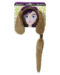 Forum Dog Ears With Tail Halloween 2pc Costume Accessory Set, Brown, One-Size
