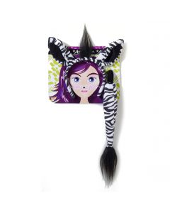 Forum Zebra Ears with Tail 2pc Costume Accessory Set, White Black, One-Size