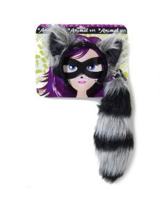 Forum Raccoon Animal Halloween 3pc Costume Accessory Set, Black Brown, One-Size