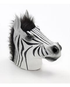 Forum Halloween Cosplay Zebra Horse Head Latex Mask, White Black, One-Size