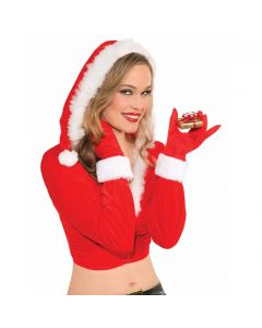 Forum Faux Fur Trim Holiday Season Christmas Gloves, Red White, One-Size