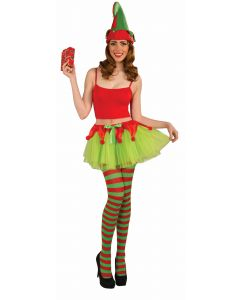 Forum Christmas Sexy Elf Tutu Costume Skirt, Green Red, One-Size Up to 14/16