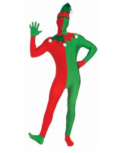 Forum Christmas Elf Jumpsuit w Hood 2pc Adult Costume Bodysuit, Red Green