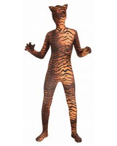Forum Tiger Jumpsuit w Hood 2pc Adult Costume Bodysuit, Brown Orange, Teen