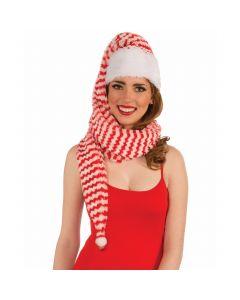 Forum Festive Christmas Striped Santa Cozy Wrap Hat, Red White, One-Size
