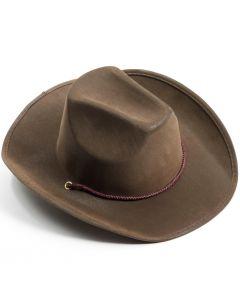 Forum Suede Cowboy Hat w Under-chin Tie-On Strap, Brown, One-Size