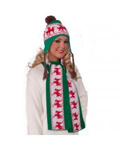 Forum Adult Reindeer Games Ugly Christmas Party Scarf, Green Red, One-Size 60""