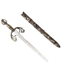 """Forum Deluxe Medieval Fantasy Battle 30"""" Sword and Sheath 2pc, Gold Silver"""
