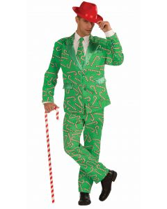 Forum Christmas Candy Cane Full Suit 3pc Men Costume, Green, X-Large 48 Chest