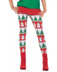 Forum Women Christmas Tree & Snowman Leggings, Red Green, One-Size 5' - 5'9""