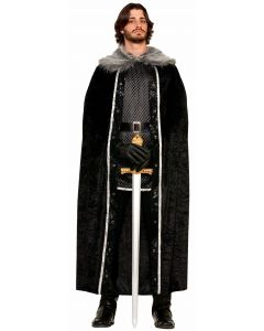 Forum Faux Fur Trimmed Thrones Game Cape, Black Grey White, One-Size