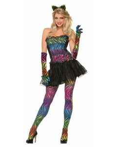 Forum Party Animal Rainbow Tiger Striped Hosiery Pantyhose, One-Size 5'-5'9""
