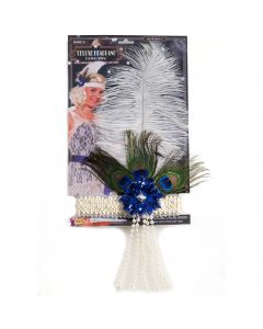 Forum Roaring 20s Flapper Peacock Feather Headband, Beige, One-Size