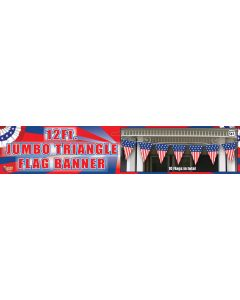 Forum Patriotic Jumbo Triangle Flag 12ft Pennant Banner, Red White Blue