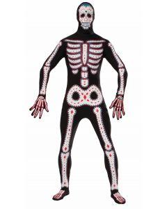 Forum Day of the Dead Skeleton 2pc Adult Costume Bodysuit, Black White