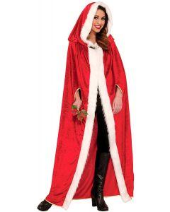 Forum Elegant Full Length Christmas Velvet Hooded Cape, Red White, One-Size