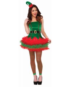 Forum Christmas Sexy Sassy Elf 2pc Women Costume, Green Red, X-Small/Small