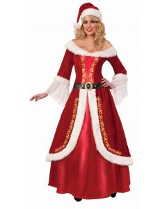 Forum Deluxe Mrs. Claus 3pc Adult Costume, Red White Gold, One-Size