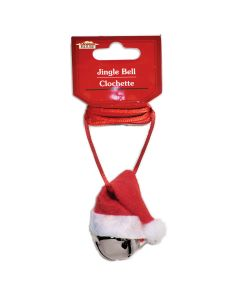 """Santa Hat Jingle Bell Christmas Holiday Party Necklace, 34""""L, Red White Silver"""