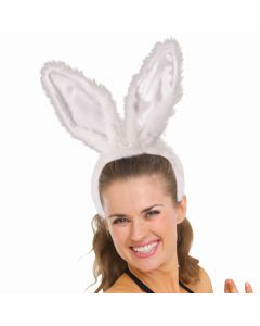 Super Deluxe Faux Fur Tall Posable Bunny Ears Headband, White, One-Size