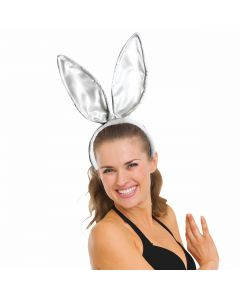 Satin Super Deluxe Tall Posable Bunny Ears Headband, White, One-Size