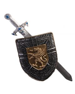 "Forum Dragon Gladiator 2pc Sword and Shield Set, Silver Bronze, 24"" L"