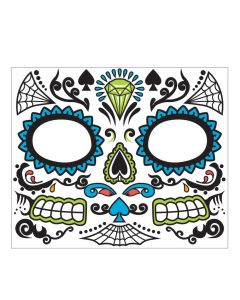 Forum Day Of The Dead Skeleton Male Face Adult Temporary Tattoo