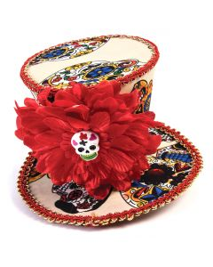 Forum Day of the Dead Rose Mini Top Hat Hair Clip, Red Multi, One-Size