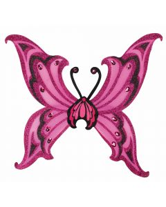 Forum Female Glitter Fairy Costume Wings, Hot Pink Black, 26""