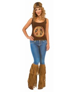 Forum Woodstock Hippie Fringed Boot Tops Boot Covers, Brown, One-Size