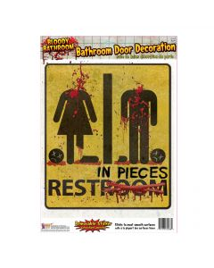 "Forum Rest In Pieces Bloody Door Decoration 17"" Restroom Sign, Yellow Black"