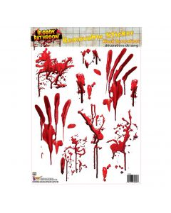 "Forum Bloody Bathroom Tile Removable Sticker 4"" x 8"" Floor Clings, Red"